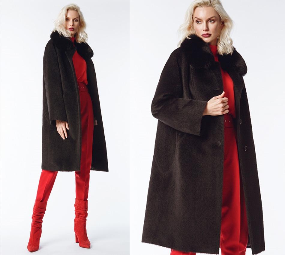 Зимнее пальто из шерсти альпаки