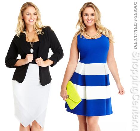 На фото: одежда для полных женщин с фигурой Т-типа