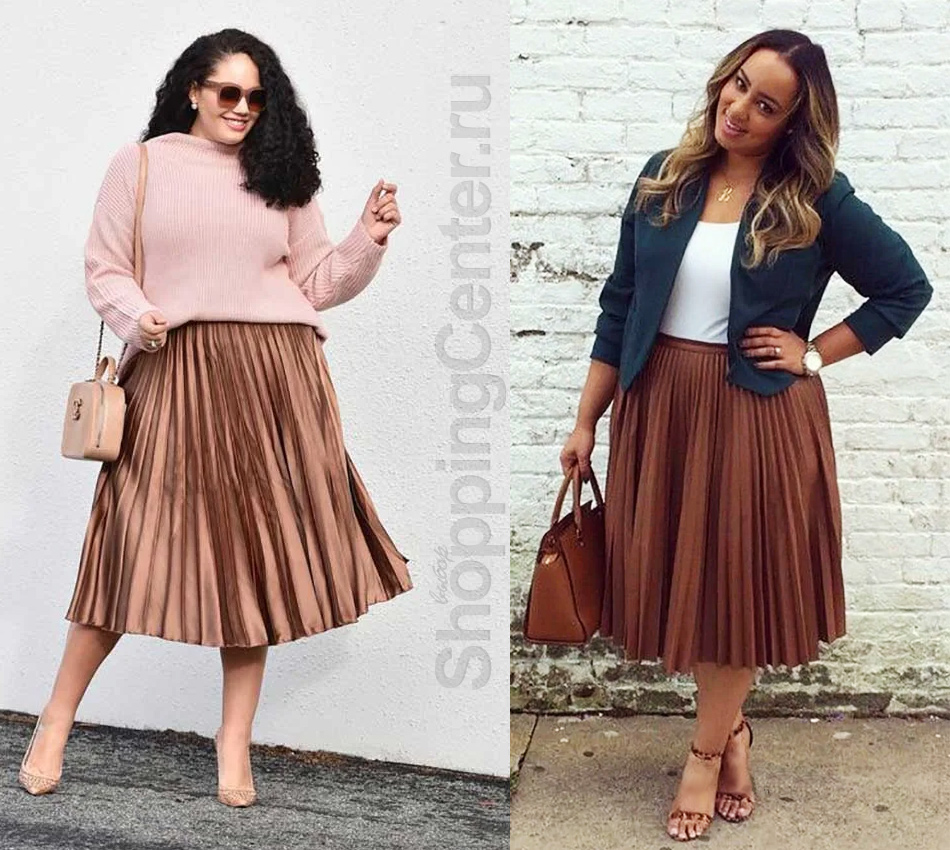 Примеры, с чем носить юбку плиссе полным женщинам