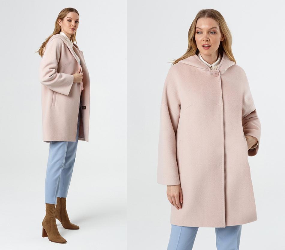 Розовое короткое пальто