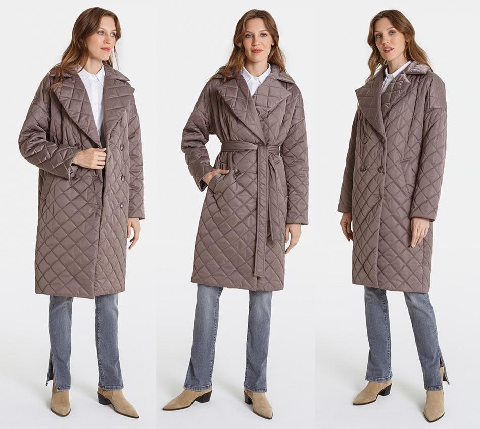 Стеганное осеннее пальто