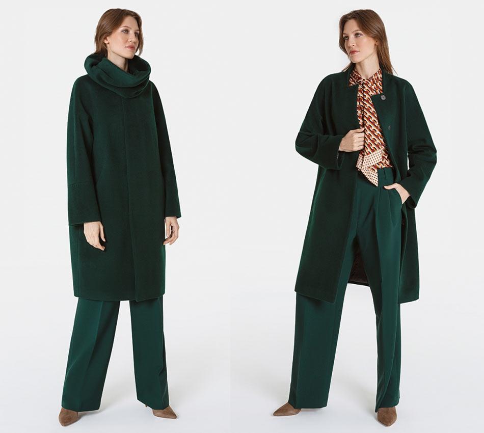 Зеленое осеннее пальто
